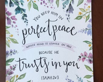 Isaiah 26:3 Bible Verse Watercolor Painting/Lettering