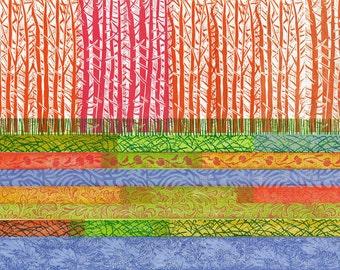Printmaking Wall Decor RELIEF PRINT - Fuschia & Orange Forest - Wall Art Original Print