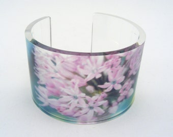 Lucite flower bangle - Wide cuff - Blossom Bangle - pink perspex bracelet - Arm Band Jewellery - Lilac Allium Bangle - solid Bracelet