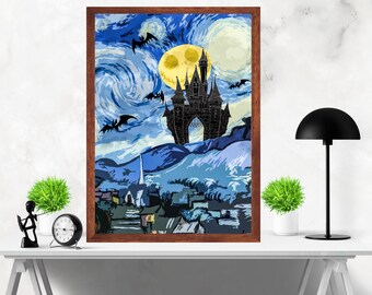 Tim Burton's The Nightmare Before Christmas  with starry night Van Gogh Original Artwork Print Poster