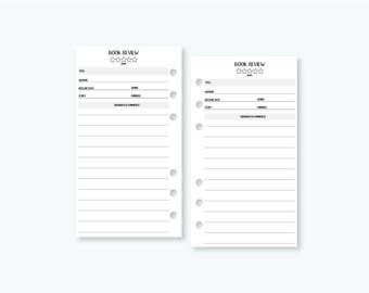 Personal Book Review - star rating - reading tracker - author - book log - planner insert - Personal Wide