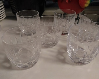 6 vintage crystal cut Waterford old fashion lowball glasses
