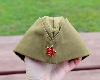 Soviet army cap Soviet pilotka UNUSED Red star badge Vintage soldiers hat Khaki military cap hat Soviet Red army cap Hammer and sickle