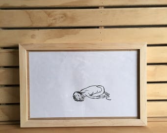 yoga pose - framed original drawing