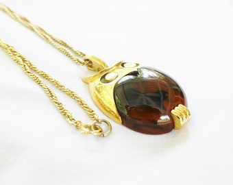 70's Crown Trifari Owl Necklace Large Amber Lucite Gold Tone Chain GIFT FOR HER