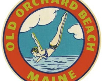 Vintage Style  Old Orchard Beach Maine bikini pin-up girl     Travel Decal sticker