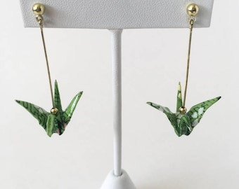 Green origami crane earrings,  paper anniversary jewelry, origami earrings, origami jewelry, crane drop earrings, japanese jewelry