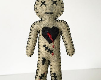 Voodoo Doll Zombie Doll mini size - creepy cute zombie doll - wicked cute handmade doll - gag gift - novelty item - OOAK
