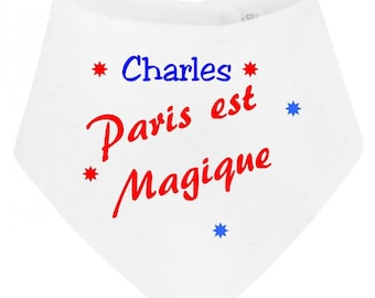 Paris baby bandana bib is personalized with name