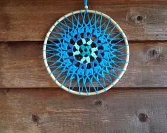 Azules Turquesas Mandala Crochet Dreamctacher Wall hanging Dream Catcher Homedecor***SALE***