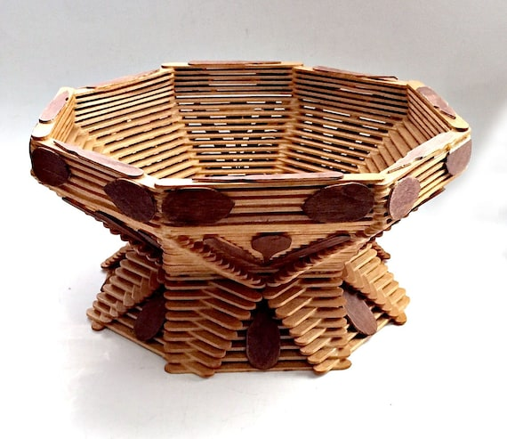 Tramp Art Basket Handmade Popsicle Stick Basket Folk Art