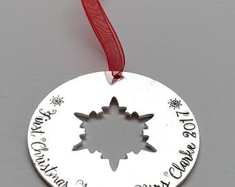 Snowflake Mr and Mrs, Mr and Mr,  Mrs and Mrs Christmas decoration,  can be worded differently, first christmas