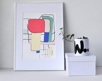 Line drawing, Minimalist art, Abstract print, Sculptural Grid, Mid century art, Nordic print, Living room, Pastel, Home decor