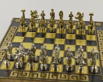 Greek warrior chess set (20X20) / Bronze chess board