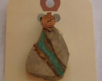 Slice New Mexico CERRILLOS turquoise slice pendant / necklace !!