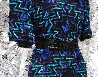 Medium/Large Purple and Blues Aztec Mayan designed Sequined blouse, cocktail party sequin blouse, ladies silk blouse