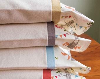 Woodland Flannel Toddler Pillowcase; Organic Cotton Flannel Baby Pillowcase; Travel Pillow Case; Cozy Ivory Flannel Toddler Pillow Case