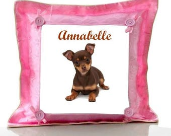 Cushion Pink Chihuahua personalized with name