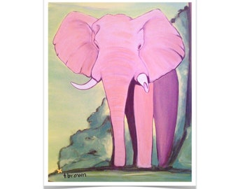 elephant. fine art print. animal. safari. wild animals. africa. african elephants. zoo. otto. print of original painting. traciebrownart.