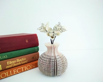 Mini Paper Bud Vase with Book Paper Flowers Book Art - Mother's Day Gift idea - Book vase - origami flowers