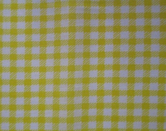 1 yellow and white gingham 10x12cm 100% cotton fabric coupon
