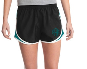 Black & Teal Monogrammed Shorts, Personalized Running Shorts, Work Out Shorts, Gym Shorts, Monogrammed Running Shorts, Personalized Shorts