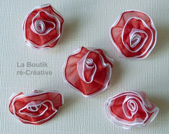 Lot 8 flower appliques in red organza white 25 mm