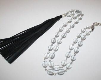 Black Tassel Long Necklace, Smoke Oval Glass Beads Necklace, Long Silver Necklace