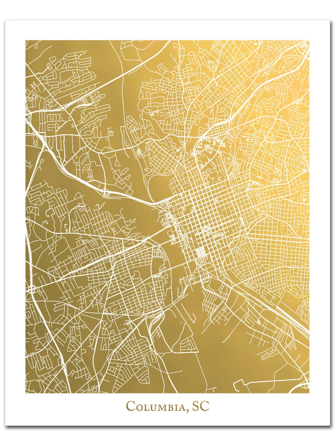 Columbia Map Map Wall Art Map Print Gold Foil Map of