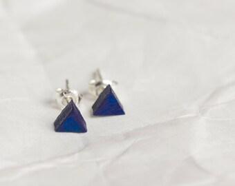 Stud earrings triangle earrings navy blue earrings mens triangle earrings earrings studs free shipping minimal tiny earrings