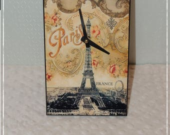 Wooden rectangular clock with paris decor