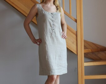 Linen slip dress Mini linen dress Linen dress Natural linen color dress Women Orange White dress