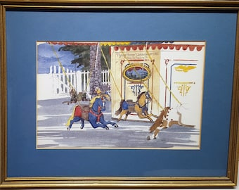 Famous Watch Hill Rhode Island Flying Horses Carousel by Diana Tyler Watercolor Framed and Mounted Print 1983 presented by Donellensvintage