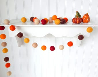 Autumn Wreath Garland, Autumn Garland, Fall Garland, Fall Decoration, Thanksgiving Garland, Felt Ball Garland, Autumn Decor, Pumpkin