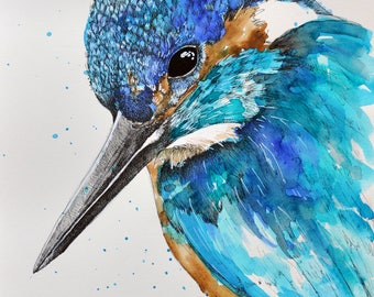 """kink fisher picture-king fisher digital print-printable wall art-bird poster-print title """"kingFisher close up"""""""