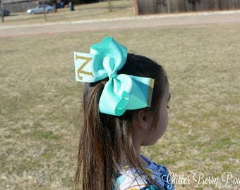 "Personalized hairbow, 5 inch aqua hair bow, initial hair bow, 5"" aqua hair bow, 5 inch aqua bow, handmade hair bow"
