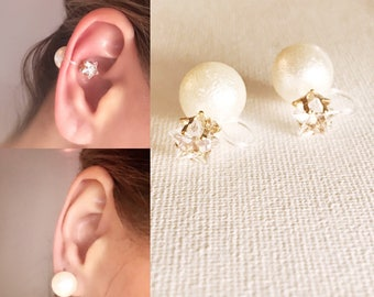 Ear Cuff Invisible Clip On Pearl Earrings , Clip On  Earrings Bridal,  #52