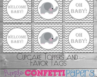 Gray & White Chevron Printable Cupcake Toppers, Favor Tags, Stickers INSTANT DOWNLOAD DIY