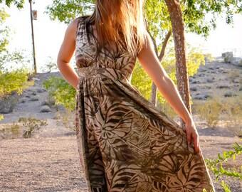 Sundance Dress, Official, Summer Dress, Cotton Dress, Sundance, Khaki, Sundress, Flower Print, Island Print, Knee Length