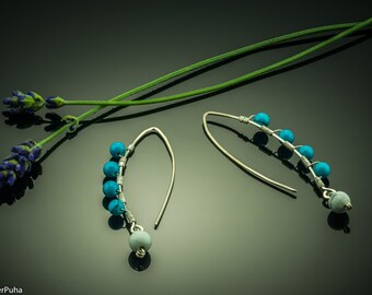 Blue Turquoise and Howlite silver arc earrings