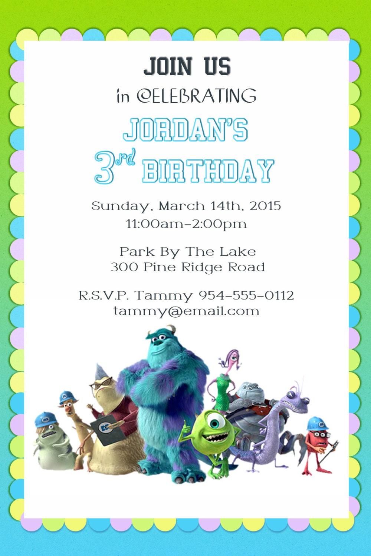 MONSTERS INC BIRTHDAY Kit - Monsters Inc Banner, Banner, Invitation ...