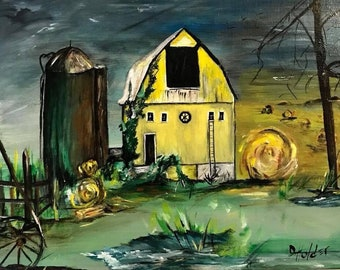 Westwood Hay Barn - Original Art Print - Barn-Farmhouse-Primitive Art