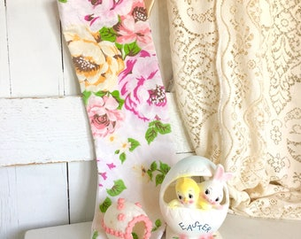 Vintage Stocking Floral Handmade Shabby Chic Christmas Easter