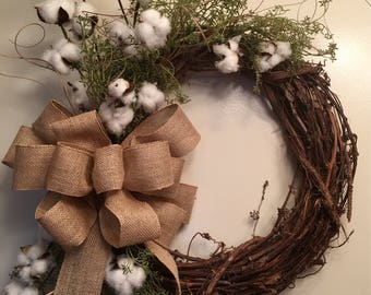 Farmhouse Rustic Cotton Burlap Spring Year Round Wreath