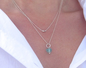 Layered Sea Glass Necklace   Double Sea Glass Necklace   Sea Glass Necklace   Beach Glass Necklace   Layered Necklace   Layered Look