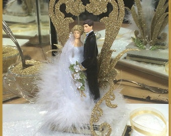 "1920's ""Black Tie"" Deco Cake Topper"