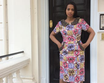 Embellished Collar Ankara  Dress,Unique Handmade Dress,One of a Kind African Dress.