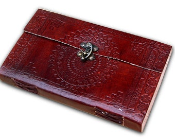 "Handmade leather bound journal diary/notebook/sketchbook with embossed design handmade paper, 9""x5"""
