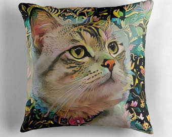 Cat Pillow Cover, Gift for Cat Lady, Cat Throw Pillow, Tabby Cat Decor