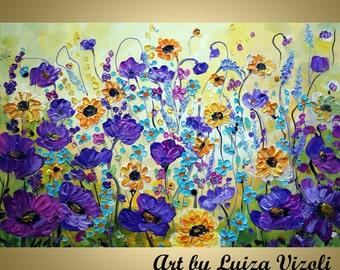 Flowers PAINTING Original Art on Large Canvas Purple Yellow White Impasto Floral Art by Luiza Vizoli